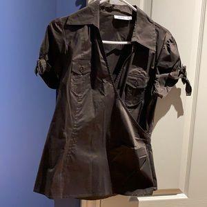 Ricki's Brown Short sleeve wrap blouse - size 8